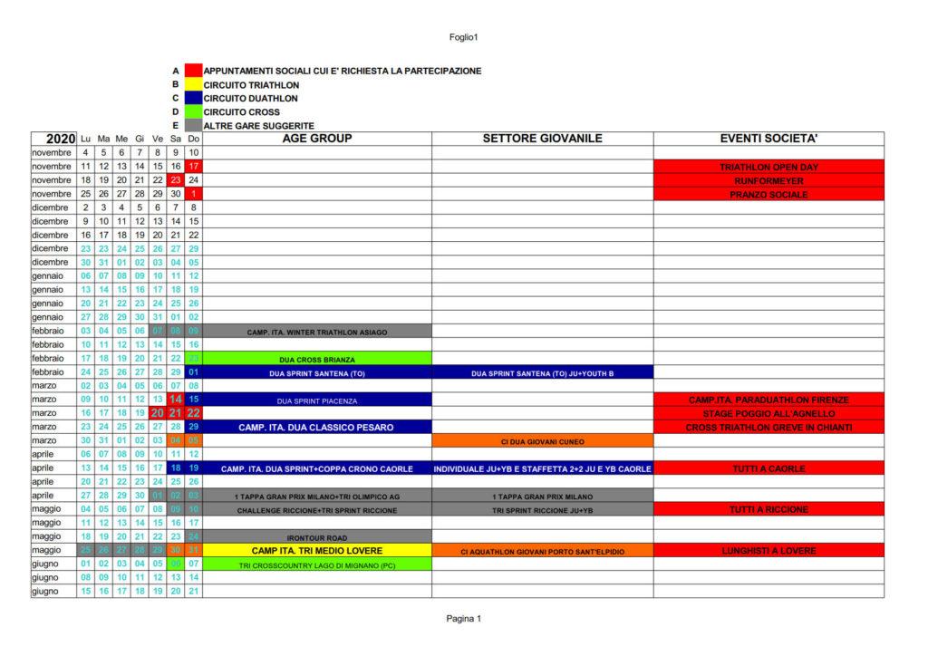 Calendario Sociale 2020